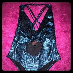 Blue shiny lamê one piece swimsuit strappy sexy